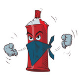 Fototapety Cartoon angry spray can in a mask threatens fists. Vector illustration.