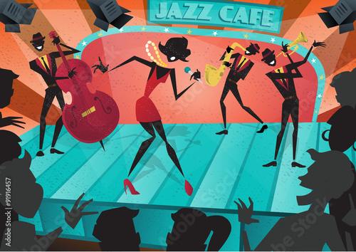 Fototapeta Jazz Band Live on Stage