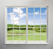 Modern residential window with lake view - 91929802