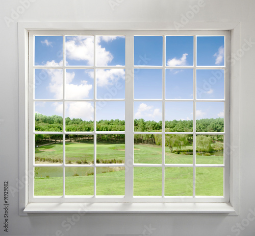 Fototapeta Modern residential window with lake view