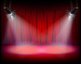 Fototapety Stage with red curtain. Vector illustration.