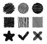 Fototapety Set of Hand Drawn Scribble Shapes