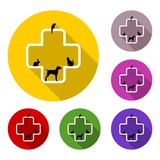 Veterinary icon with medicine symbol with long shadow set