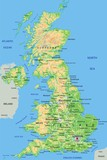 High detailed United Kingdom physical map with labeling. - 91937882