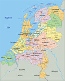 Netherlands - Highly detailed editable political map with separated layers.