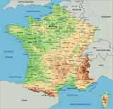 High detailed France physical map with labeling. - 91944058