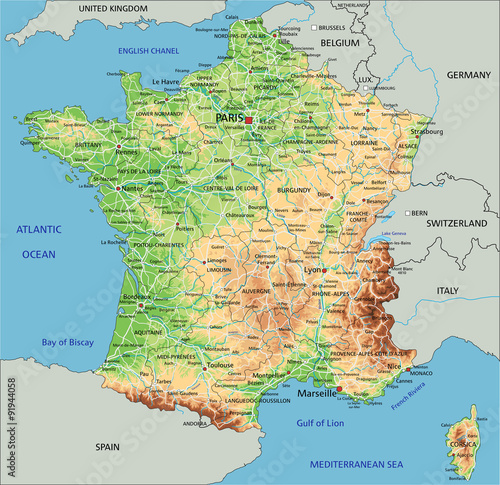 High detailed France physical map with labeling. Poster