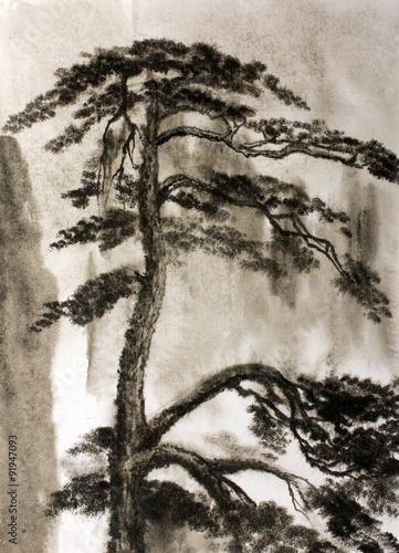 Chinese painting pine - 91947093
