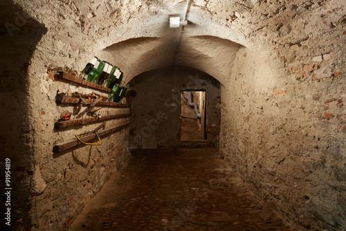 In de dag Old, dark basement corridor in ancient house