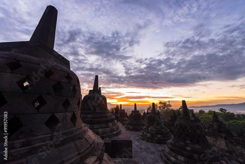 Foto op Plexiglas Indonesië morning sunrise vivid sky front of Borobudur, Indonesia