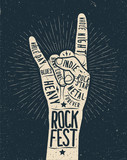 Rock festival poster, flyer. Vector hand draw styled illustration.