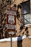 Pre-1937 Route 66 sign on Old Santa Fe Trail in downtown Santa Fe, New Mexico