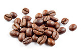 Roasted coffee beans isolated on white background.