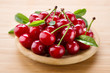 Cherry with leaves. Organic fruit.