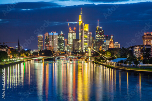 Foto op Canvas Texas Frankfurt am Main skyline at dusk, Germany