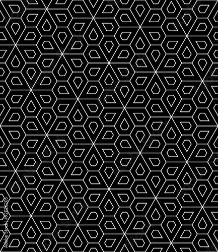 Vector modern seamless geometry pattern flower, black and white abstract geometric background, wallpaper print, monochrome retro texture, hipster fashion design - 92026205
