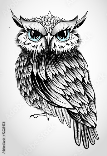 Foto op Aluminium Uilen cartoon Owl Lady - beautiful vector illustration