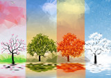 Fototapety Four Seasons Banners with Trees and Lake Reflection - Vector Illustration