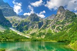 Summer landscape. Lake in mountains. Zelene Pleso lake and summits in High Tatra Mountains, Slovakia.