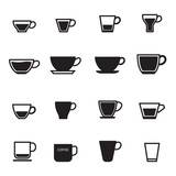 Coffee cup icons set