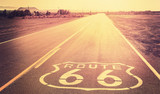 Vintage filtered sunset over Route 66, California, USA.