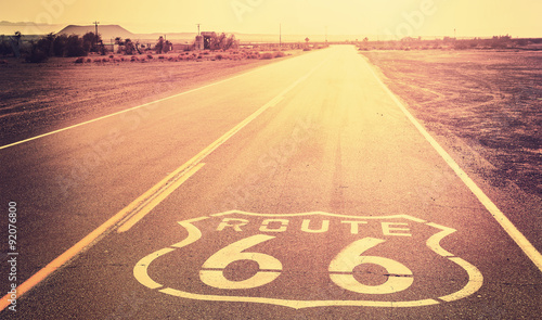 Spoed canvasdoek 2cm dik Route 66 Vintage filtered sunset over Route 66, California, USA.