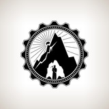 Miner in the Helmet  is Holding Pickaxe in the Bowels of the Mountain  on a Background of the Sunburst, Label or Badge Mine Shaft, Mining, Vintage Emblem of the Mining Industry poster