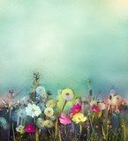 Fototapety Oil painting flowers dandelion, poppy, daisy in fields. Hand Paint Wildflowers field in summer meadow. Spring floral seasonal nature with blue and green in soft color background