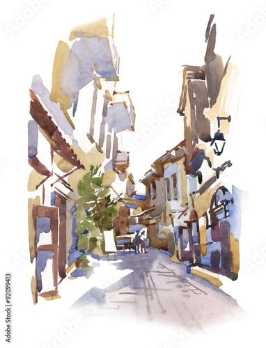 recznie-robiony-szkic-starej-ulicy