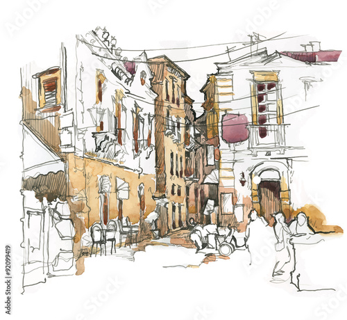 Hand made sketch of old street. © 21021021