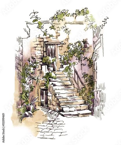recznie-robiony-szkic-starej-porosnietej-zielenia-ulicy