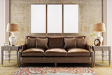 Fototapety Mock up posters with leather sofa couch. Photo realistic 3d illustration