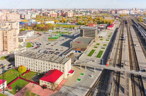 Aerial view onto railway station. Tyumen. Russia © Aikon