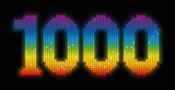 THOUSAND - anniversary jubilee number, exactly one thousand counted rainbow colored platelets - illustration over black background. poster