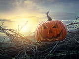 Fototapety Funny face pumpkin sitting on fence