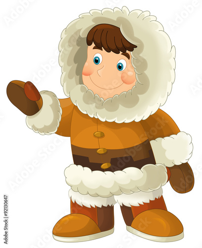 Cartoon eskimo - illustration for the children - 92130647