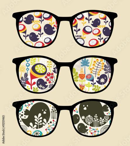 Obraz Retro sunglasses with reflection in it.