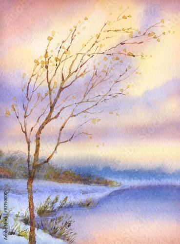 Fototapeta Watercolor landscape. Yellowed tree over snow-covered lake