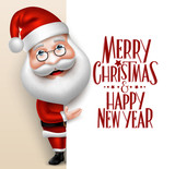 3D Realistic Santa Claus Cartoon Character Showing  Merry Christmas Tittle Written  in Blank Space. Vector Illustration 92154295,business card template
