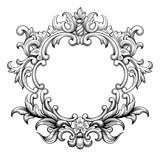 Vintage baroque frame border leaf scroll floral ornament engraving retro flower pattern antique style swirl decorative design element black and white filigree vector wedding invitation greeting card