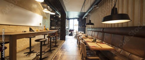 seamless panorama of restaurant bar interior made by tilt shift lens
