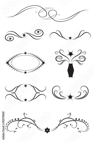 Vector set of graphic design elements: borders, dividers and frames