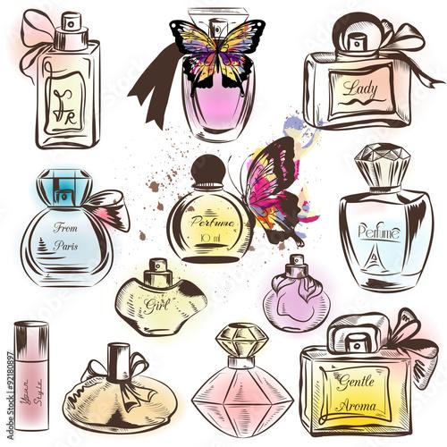 Materiał do szycia Set of different perfumes. Elegant vector illustration