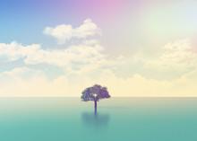 3D scena oceanu z drzewa z mocą retro