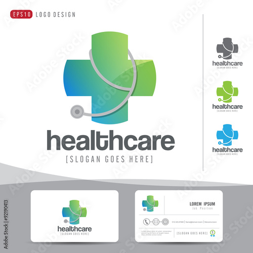 Logo design medical healthcare or hospital and business card logo design medical healthcare or hospital and business card template clean and modern patternvector reheart Images