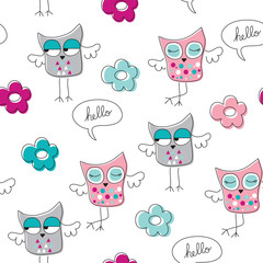 seamless crazy owls vector illustration
