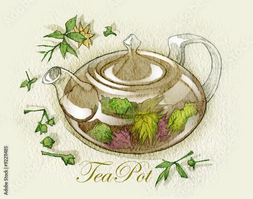 Fototapeta Sketch of tea cups and teapots. Fullsize raster artwork.