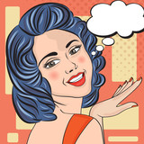 Fototapety Pop Art illustration of woman with the speech bubble