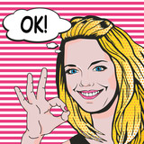 Fototapety Woman says OK pop art comics style. Vector retro young woman shows ok gesture