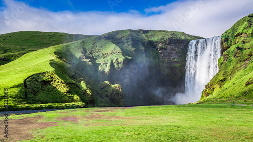 Spectacular Skogafoss waterfall in Iceland